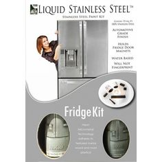 Liquid Stainless Steel Refrigerator Kit – The easy and affordable way to DIY update kitchen appliances. The 100% Stainless Steel coating creates a professional looking finish with just a roller and brush!