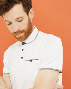 Cotton polo shirt - White | Tops & T-shirts | Ted Baker UK