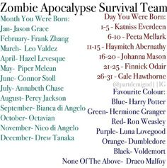 Leo a never ending source of fire and humor. Johanna Mason whom I don't know but will be capable of guarding me from zombies.  And Harry for all around protection and comfort he can conjure by magic.