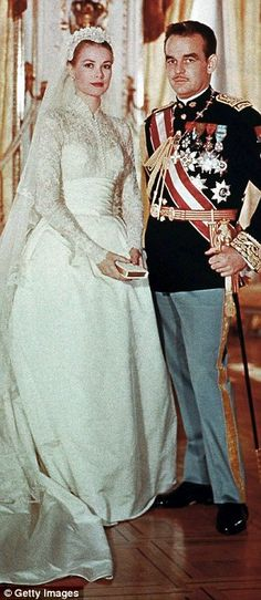 Princess Grace and Prince Ranier of Monaco, a 6-minute civil ceremony took place in the Palace Throne Room of Monaco on April 18, 1956, The following day the church ceremony took place at Monaco's Saint Nicholas Cathedral, before Monaco's Bishop Gilles Barthe.