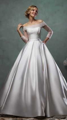 2016 Satin Ball Gown Wedding Dresses Off-the-Shoulder Sheer Tulle Long Sleeves Simple Bridal Gowns