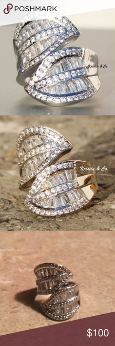 """NEW LEAVES OF BEAUTY THIS RING THIS RING! CAN YOU SAY WOW!?! SHE IS FULL OF ROUND AND BAGUETTE CUT WHITE SAPPHIRES! AMAZING QUALITY AND HIGH END RETAIL IS $379! SET IN SILVER OVER BRASS SHE MEASURES APPROX 1.1"""" SIZE 8 includes black velvet gift box Jewelry Rings"""