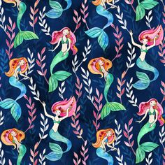 Little Merry Mermaids in Watercolor fabric by micklyn on Spoonflower - custom fabric