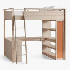 Shop loft bed from Pottery Barn Teen. Our teen furniture, decor and accessories collections feature fun and stylish loft bed. Create a unique and cool teen or dorm room. Bunk Bed With Desk, Bunk Beds With Stairs, Kids Bunk Beds, Desk Bed, Loft Bed Stairs, Bed Weather, Loft Bed Plans, Low Loft Beds, Sleep Studies
