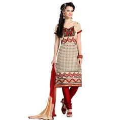 Attractive Off-White & Red Coloured Embroidered  Dress Material
