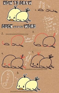 How to Draw Baby Cartoon Duck with the Word Duck Simple Step by Step Drawing Lesson for Kids