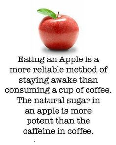 Eating an apple is a more reliable method of staying awake than consuming a cup of coffee. The natural sugar in an apple is more potent than the caffeine in coffee. Get Healthy, Healthy Tips, Healthy Recipes, Healthy Foods, Eating Healthy, Healthy Smoothies, Healthy Habits, Health And Wellness, Health Fitness