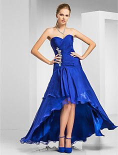 novia vestido de noche de gasa asimétrica trompeta / sirena – USD $ 229.99