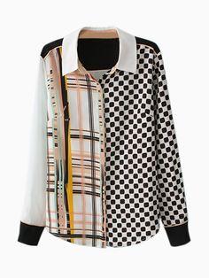 Geometric Plaid Print Chiffon Shirt