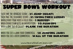 Are you going to a party for the Super Bowl or just enjoying the game at home?  Either way, do this fun workout as you are watching! For more free workouts visit heandsheeatclean.com