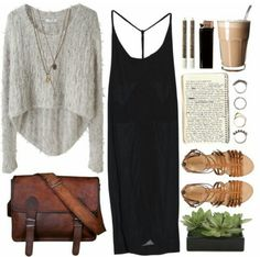 Love the boat neck, crop sweater over a sexy lil cash black dress!