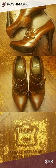 Stuart Weitzman Leather Oxford Stiletto Heel EUC Worn a few times, wonderful shoes!  Brown leather Oxford style with buckle closure Stuart Weitzman Shoes Heels
