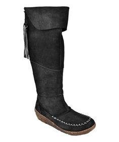 Take a look at this Black Fold-Over Tassel Boot by El Naturalista on #zulily today!