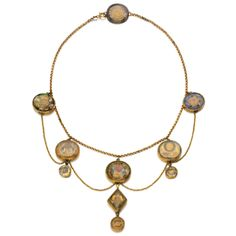 "Gold necklace mounted with ten ""Stuart crystal"" mourning slides and buttons, 1690s and later ."