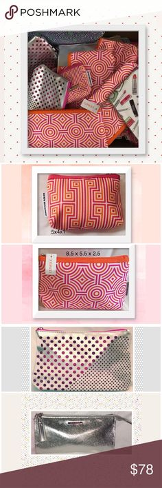 Lot of 50 NWT/NWOT Clinique makeup bags Smaller bags:5x4x1 w/some pulled threads.Others:8.5 x 5.5 x 2.5. I personally bought the 20 NWOT +10 NWT.The others held GWP -otherwise unused: In order: 20 NWOT small Adler print  10 NWT Adler print +2 NWOT  6 NWOT silver/pink 3 NWOT silver w/pink lining 4 NWOT Adler green 3 NWOT clear/mesh  NWOT makeup+diamond prints  Please read my closet rules before acting on any of my listings. Thanks for respecting my terms.  Sorry, no trades.  We have a…