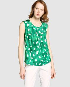 cd242ec2a99fe Blusa de mujer Síntesis de cuadros con frunces Tiendas De Moda Online