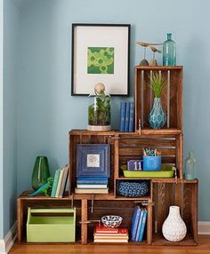Arrange several inexpensive wood crates into a shelving unit, then give them a coat of paint or stain. Hold them snugly in place with clamps to build a custom furniture piece—no power tools needed. diy Wooden crates bookshelf 10 Uses for C-Clamps Reclaimed Wood Furniture, Wood Crates, Wood Boxes, Custom Furniture, Furniture Decor, Furniture Storage, Furniture Arrangement, Office Furniture, Crate Bookshelf