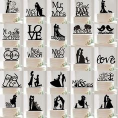 Wedding Party Silhouette Cake Topper Bride and Groom Black Acrylic in Crafts, Cake Decorating | eBay