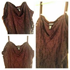 AVENUE BROWN LACE CAMI Adjustable straps Brown camisole with brown lace layered  NWOT Avenue Tops Camisoles