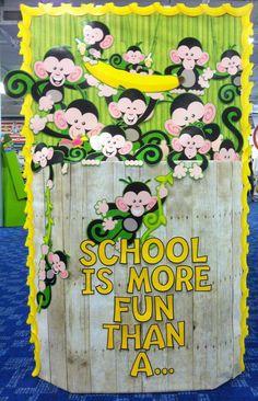 Better Bulletin Boards: Barrel of Monkeys Door Decorations Classroom Back To School, Owl Door Decorations, School Decorations, School Themes, School Fun, School Stuff, Sunday School, Monkey Bulletin Boards, Back To School Bulletin Boards