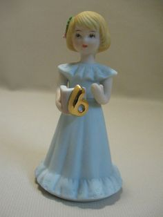 Age 6 Birthday Girl Vintage 1981 Enesco Growing Up Birthday Girls Figurine