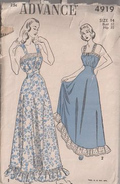 Advance 4919 Vintage 40's Sewing Pattern INCREDIBLE Floor Length Film Noir Evening Gown, Ruffled Hem Formal Dress, Lace Straps or V Back
