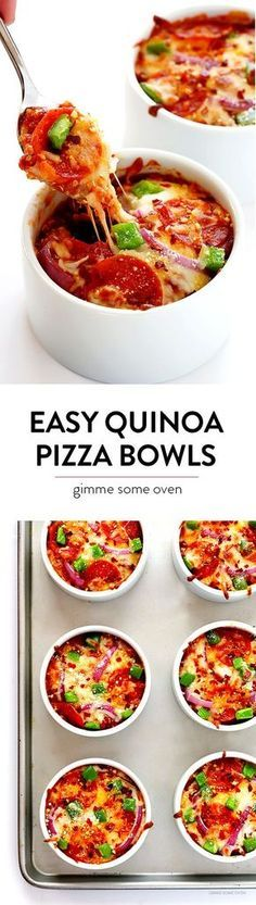 Easy Quinoa Pizza Bowls -- fun to customize with your favorite pizza toppings, and packed with protein!