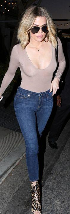 Khloe Kardashian in Jeans – Good American Shirt – Naked Wardrobe Necklace – Monica Rose Sunglasses – Quay