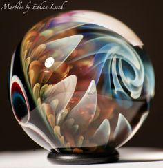 24KT GOLD HANDMADE MARBLE SIGNED BY ~ETHAN LESCH~  BOROSILICATE, BORO, ART #Glass