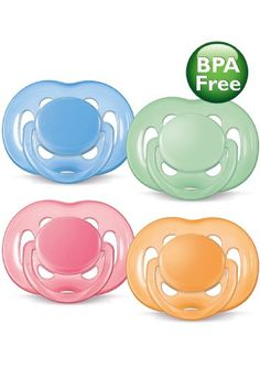 Philips AVENT BPA Free Contemporary Freeflow Pacifier, 0-6 Months, 2-Count, Colors and Designs May Vary