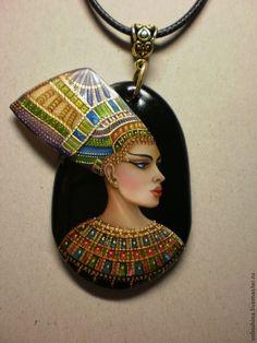 """Купить Кулон """"Царица Египта"""" - золотой, лаковая миниатюра, Живопись, живопись на камне, роспись"""