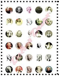 Marilyn Monroe, Collage, Planche d'Images Digital -Marilyn Monroe - pour cabochons ronds 25 mm : Images digitales pour bijoux par dalorie-bijoux