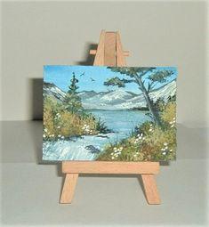original art aceo landscape mountain art painting ( ref f 433) £4.00