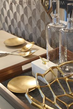 Gold accessories used by Rachel Winham Interior Design for a recent project at Great Minster House, London.