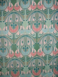CHARLES RENNIE MACKINTOSH ART DECO FABRIC - in teal/ cream/ green and yellow