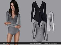 Long Sleeves V Neck Bodysuit by Bill Sims - Sims 3 Downloads CC Caboodle