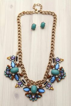 Colorful Jeweled Statement Necklace Set. Gorgeous! from First & Chic.