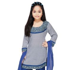 White and Blue Cotton Readymade Salwar Kameez