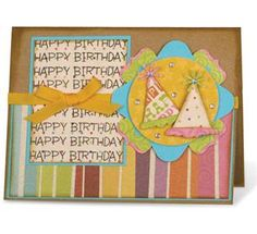 Party Hats Card - McGill Inc.Design By Janine Blackwelder  Ice Cream Cone punch makes this Party Hats card.