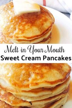 Amazing Melt in Your Mouth Sweet Cream Pancakes is the best pancake recipe around and will be the only pancake recipe you'll ever need! Sweet and dreamy! # breakfast recipes Sweet Cream Pancakes - The Mommy Mouse Clubhouse Pancakes Easy, Buttermilk Pancakes, Sweet Cream Pancakes Recipe, Best Pancake Recipe Fluffy, Homemade Pancakes Fluffy, Cream Cheese Pancakes, Pancake Recipe Melted Butter, Best Pancake Recipe Bisquick, Pancake Recipe With Vanilla Extract