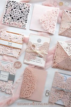#EWI blush pink laser cut wedding invitation with gold and silver accents