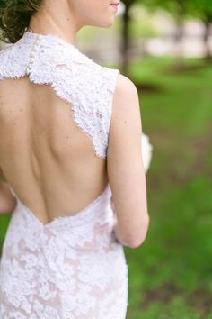 Beautiful lace dress with open back: http://www.stylemepretty.com/illinois-weddings/chicago/2014/09/22/modern-chicago-wedding-at-ignite-glass-studios/ | Photography: Caili Helsper - http://www.cailihelsper.com/