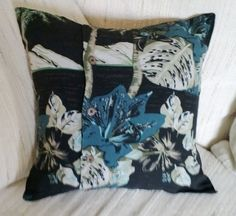 Floral Pillow Cover Hawaiian Shirt 14 Inch Square Upcycled Tropical Palm Trees on Etsy, $14.00