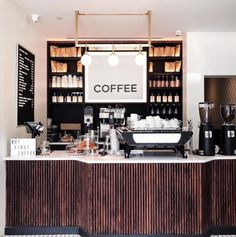 ✨Starting our Monday off with a little extra caffeine via this gorgeous snap from Kiosk Marketing, Cafeteria Design, Morning Mood, Monday Morning, Cafe Bistro, But First Coffee, Hospitality Design, Cafe Interior, Liquor Cabinet
