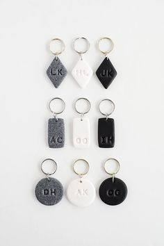 Personalized clay keychains. Make easy, minimalist presents & relatively easy to make. Add a wooden bead or so for added interest