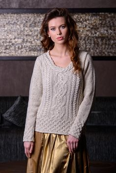 Luxury Aran Plaited Neck Sweater  This cosy and stylish sweater is ideal for casual and formal occasions; a little bit of styling is all you need to make it a multitasker! Key features include a unique plaited style collar using the braided stitch, thought to represent the interweaving strands of life.