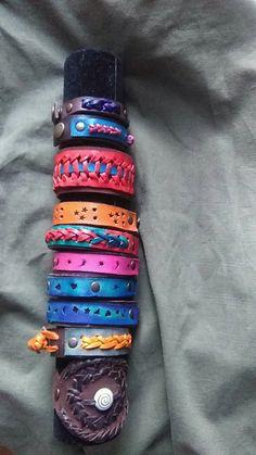 pulseras diferencia colores y trenzados, cuero primera calidad, piezas únicas