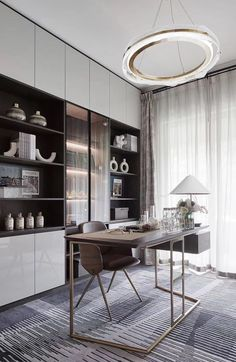 Modern Study Rooms, Home Study Rooms, Study Room Decor, Study Room Design, Modern Room, Modern Office Design, Office Interior Design, Modern Kitchen Interiors, Office Interiors