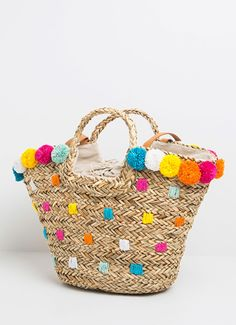 TOTE BAG WITH COLORED POMPONS 'MARLEY BAG' | WOMEN | Pepe Jeans London