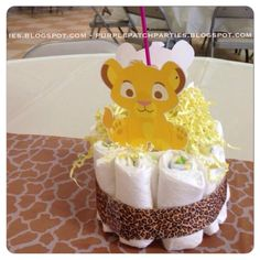 S lion king baby shower party - diaper cake centerpiece simba b Shower Party, Baby Shower Parties, Baby Shower Themes, Baby Shower Decorations, Shower Ideas, Baby Showers, Lion King Baby Shower, Baby Boy Shower, Baby Shower Gifts